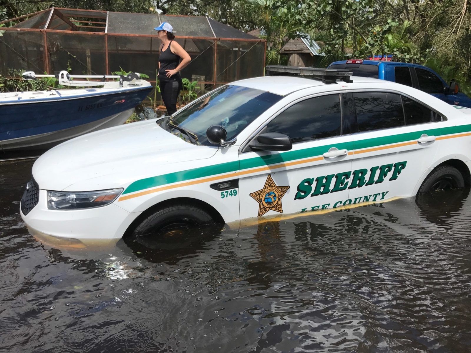 Hurricane Irma and Flooded Cop Car