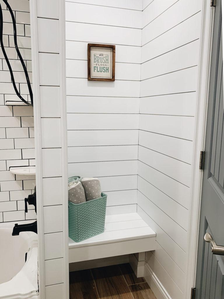 Farmhouse bath: shiplap bench